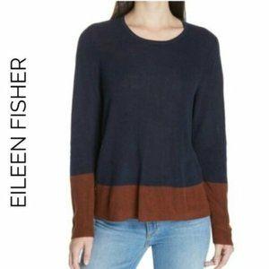 Eileen Fisher Color Block Crew Neck Sweater